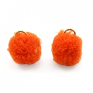 Bedel pompom met oog goud 15mm Coral red orange
