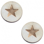 Cabochons hout basic 12 mm star large Grey