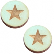 Cabochons hout 12 mm star large Sea green
