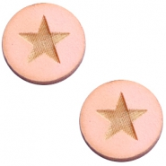 Cabochons hout 12 mm star large Pink