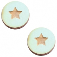 Cabochons hout 12 mm star small Sea green