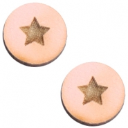 Cabochons hout 12 mm star small Pink