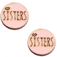 Cabochons hout 12 mm sisters Pink