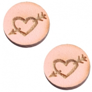 Cabochons hout 12 mm heart&arrow Pink