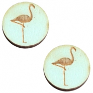 Cabochons hout 12 mm flamingo Sea green