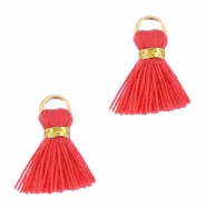 Ibiza style kwastje 1.5cm Gold-vermillion coral red orange