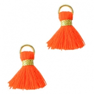 Ibiza style kwastje 1.5cm Gold-fluor red