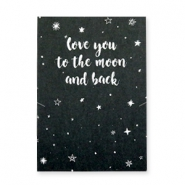 "Wenskaart voor sieraden ""LOVE YOU TO THE MOON AND BACK"" Zwart-wit"