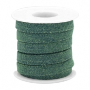 Trendy koord denim 10mm plat Dark emerald green