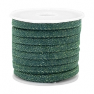 Trendy koord denim 5mm plat Dark emerald green