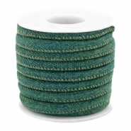 Trendy koord denim 6x4mm gestikt Dark emerald green