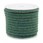 Trendy koord denim 4x3mm gestikt Dark emerald green