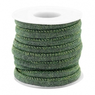 Trendy koord denim 6x4mm gestikt Dark green
