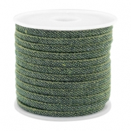 Trendy koord denim 4x3mm gestikt Dark green