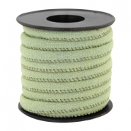 Trendy koord denim 6x4mm gestikt Light green