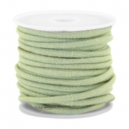 Trendy koord denim 4x3mm gestikt Light green