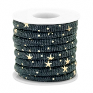 Trendy koord denim 6x4mm gestikt Indigo night blue-gold