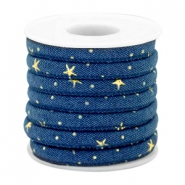 Trendy koord denim 6x4mm gestikt Midnight blue-gold