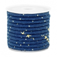 Trendy koord denim 4x3mm gestikt Midnight blue-gold