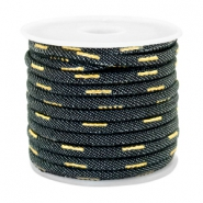 Trendy koord denim 4x3mm gestikt Indigo night blue-gold