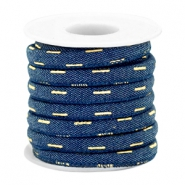 Trendy koord denim 6x4mm gestikt Dark midnight blue-gold