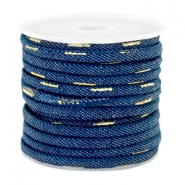 Trendy koord denim 4x3mm gestikt Dark midnight blue-gold