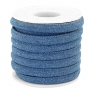 Trendy koord denim 6x4mm gestikt Regular blue