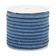 Trendy koord denim 4x3mm gestikt Regular blue