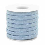 Trendy koord denim 6x4mm gestikt Light blue