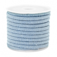 Trendy koord denim 4x3mm gestikt Light blue