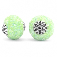Kralen bohemian 14mm Light green-silver