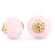 Kralen bohemian 14mm Light pink rainbow-gold