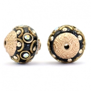 Kralen bohemian 14mm Black-crystal AB-gold