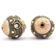 Kralen bohemian 14mm Dark grey-crystal AB-gold