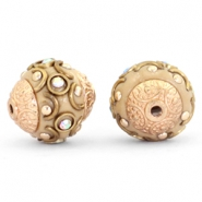 Kralen bohemian 14mm Light brown-crystal AB-gold