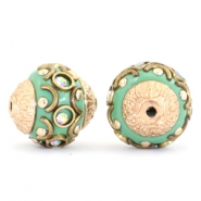 Kralen bohemian 14mm Turquoise green-crystal AB-gold