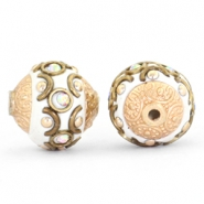Kralen bohemian 14mm White-crystal AB-gold