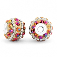 Kralen bohemian 14mm Light brown-violet diamond-silver