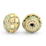Kralen bohemian 12mm Green glitter-gold