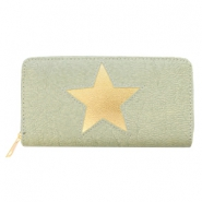 Hippe Portemonnees imi leer light rosegold star Green-grey