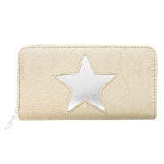 Hippe Portemonnees imi leer silver star Light taupe
