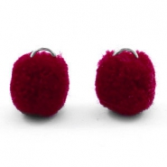 Bedel pompom met oog zilver 15mm Port red