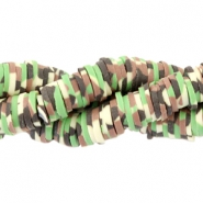Kralen Katsuki army print 4mm Green-brown-beige