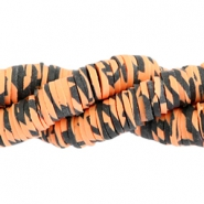 Kralen Katsuki animal print 4mm Orange-black