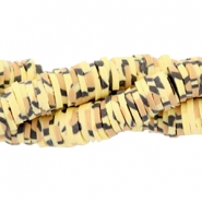 Kralen Katsuki animal print 4mm Yellow-brown-black