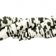 Kralen Katsuki animal print 6mm Black-off white
