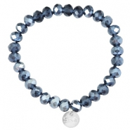 Facet armbanden Sisa top quality 8x6mm (RVS hangertje) Montana blue-pearl diamond coating