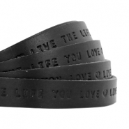 "Plat leer 10mm DQ met ""Live the life you love"" print Nero black"
