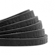 "Plat leer 5mm DQ met ""Live the life you love"" print Nero black"