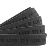 "Plat leer 10mm DQ met ""Live the life you love"" print Vintage black"